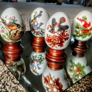 Vintage Avon Four Seasons Porcelain Eggs